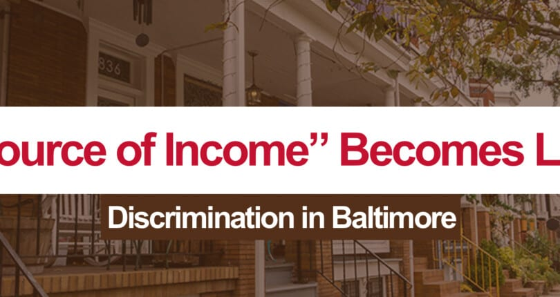 """Source of Income"" Becomes Law in Baltimore City"