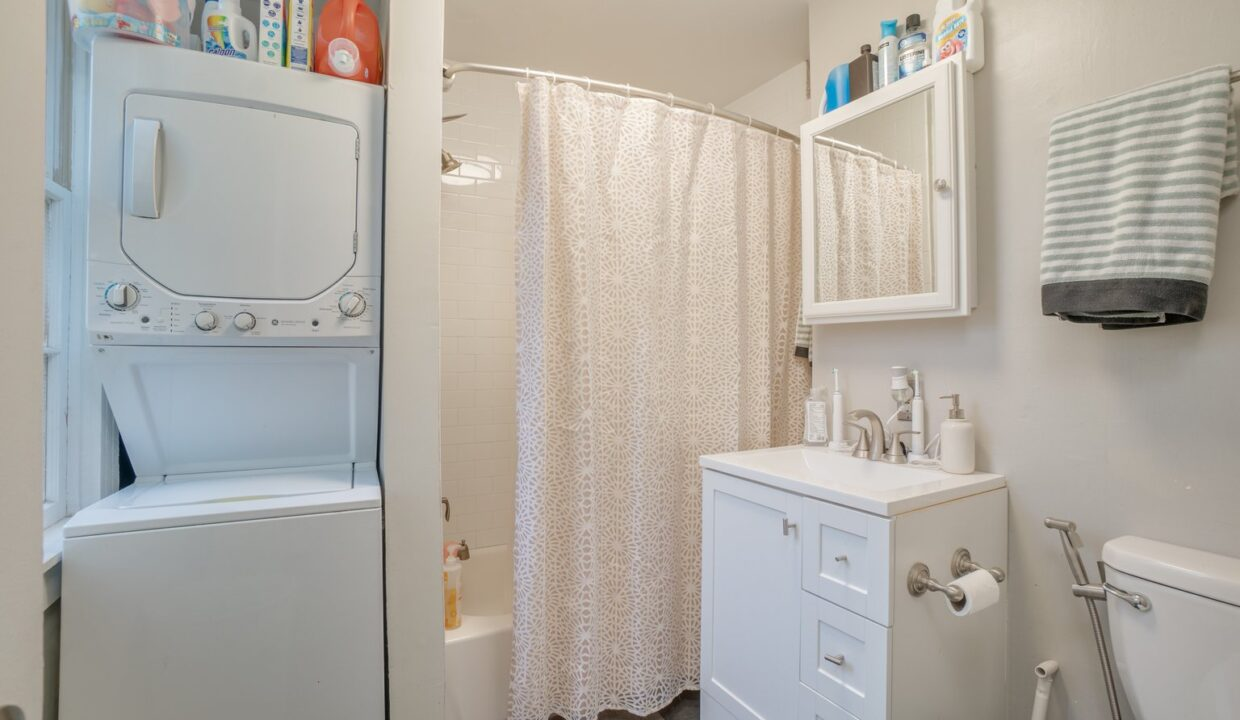 312 Emory stacked washer dryer bath